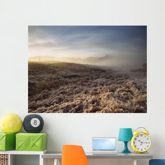 Frosted Fields And Misty Valley Wall Mural