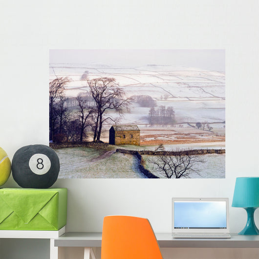 Snowy Landscape With Barn, Elevated View Wall Mural