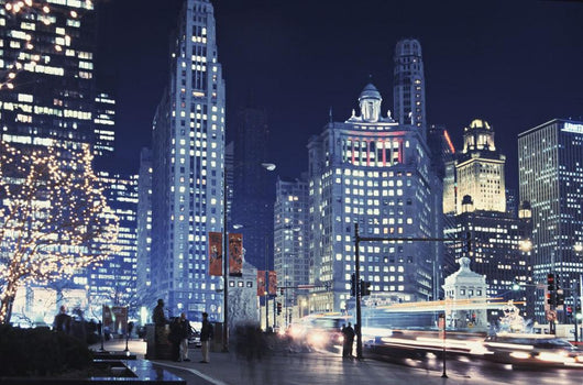 Michigan Avenue Traffic At Night With Cityscape In Background Wall Mural