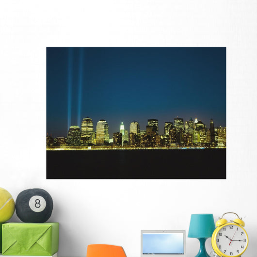 Lower Manhattan Skyline And World Trade Centre Memorial Lights Wall Mural