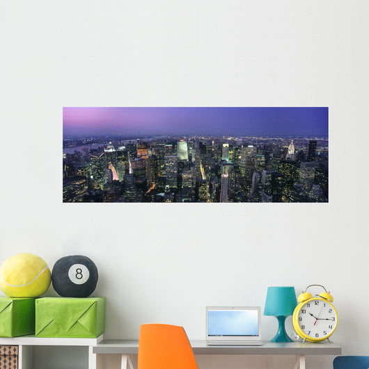 Aerial View Of Midtown Manhattan Illuminated At Dusk Wall Mural