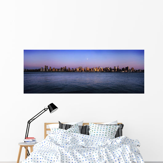 Moon Over Midtown Manhattan Skyline At Dusk Wall Mural