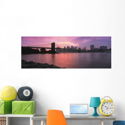 Sunset Over Lower Manhattan And Brooklyn Bridge Wall Mural