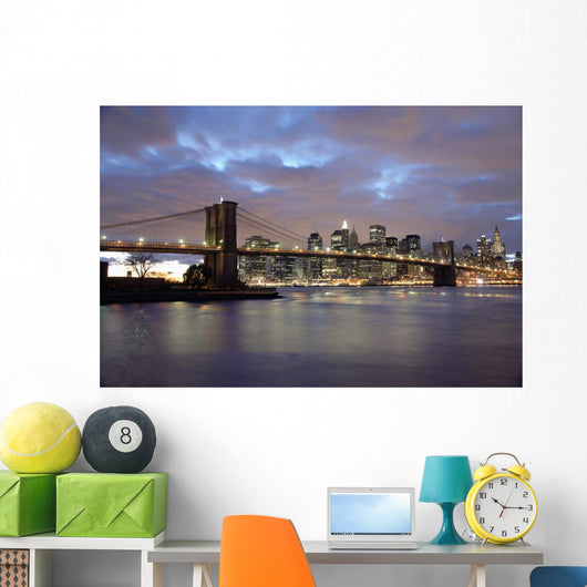 Brooklyn Bridge And Lower Manhattan At Dusk Wall Mural