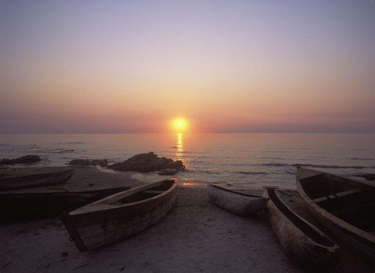 Canoes And Fishing Boats On Beach By Lake Malawi, Sunset Wall Mural