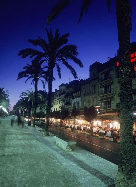 Palm Tree Lined Promenade With People Eating In Restaurants At Dusk Wall Mural