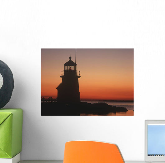 Lighthouse At Sunrise Wall Mural