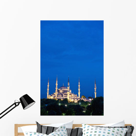 Turkey, Sultanahmet or Blue Mosque at dusk Wall Mural