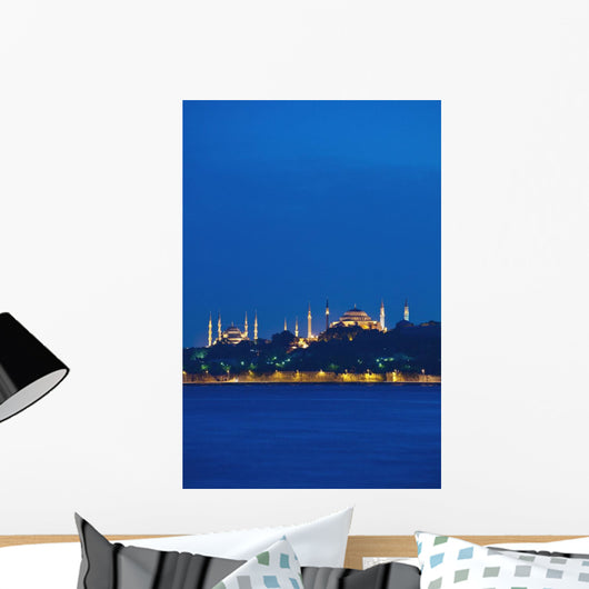 Turkey, Sultanahmet or Blue mosque and Hagia Sofia at dusk Wall Mural