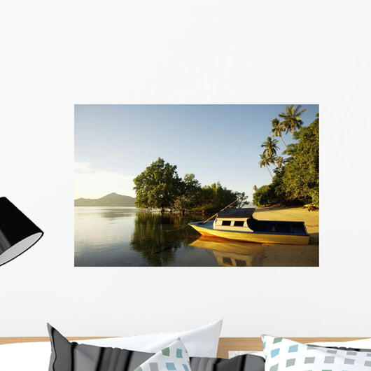 Indonesia, Sulawesi, Boat on Sandy Beach Wall Mural