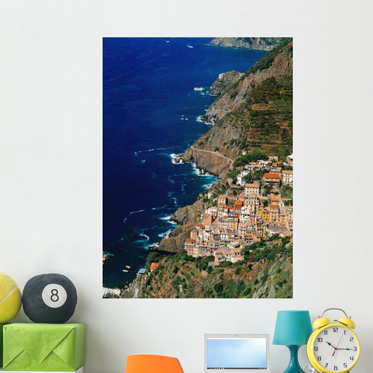 Aerial View Of Town On Cliff Side Wall Mural
