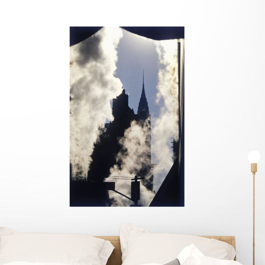 Steam And Silhouette Of Chrysler Building Wall Mural