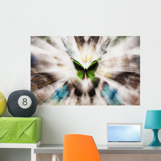 Focus On A Green Butterfly With Images Of Butterflies Surrounding It Wall Mural