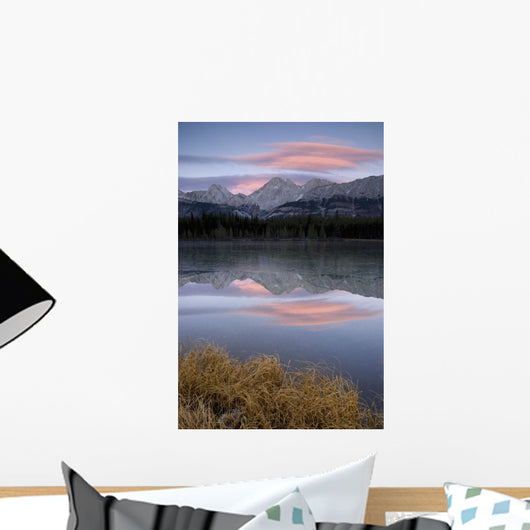 Partially Frozen Spillway Lake At Sunset Wall Mural