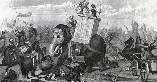War Elephants In Combat From A 19Th Century Engraving Wall Mural