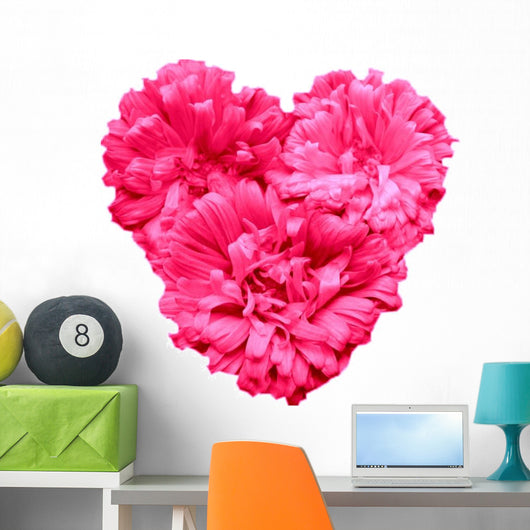 Pink Aster Flowers Heart Wall Decal