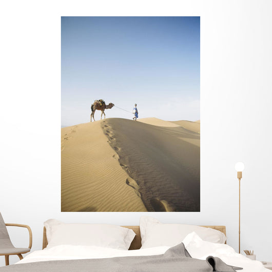 Lonely Traveler with Camel through Desert Wall Mural