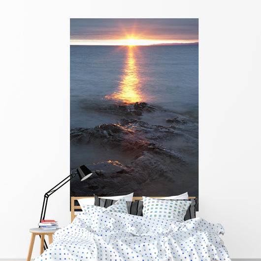 Rocky Shoreline Of Lake Superior At Sunset Wall Mural