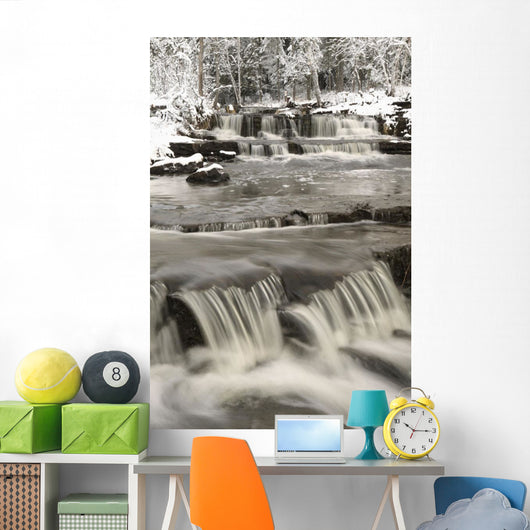 Waterfalls With Fresh Snow Wall Mural