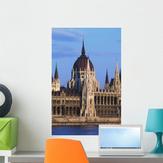Parliament Buildings On River Danube Wall Mural