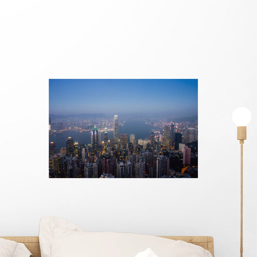 Cityscape With Harbour At Dusk Wall Mural