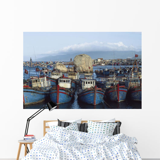 Nah Trang, blue fishing boats, Vietnam Wall Mural
