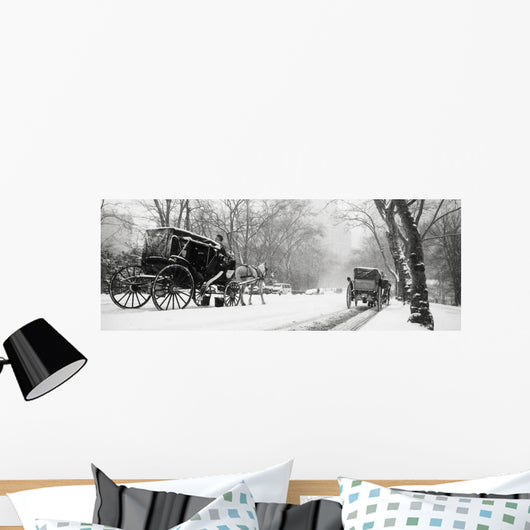 Central Park In Falling Snow Wall Mural