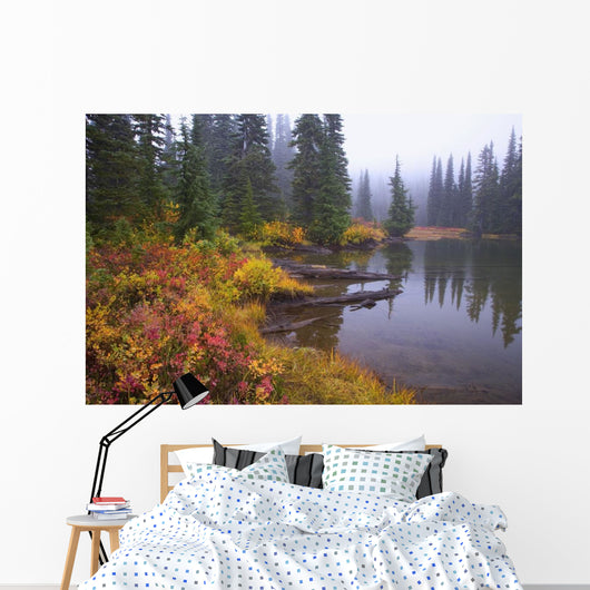 Reflection On Lake In Autumn Wall Mural