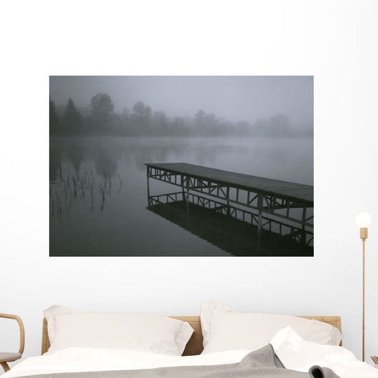 Dock With Fog Over Lake Wall Mural