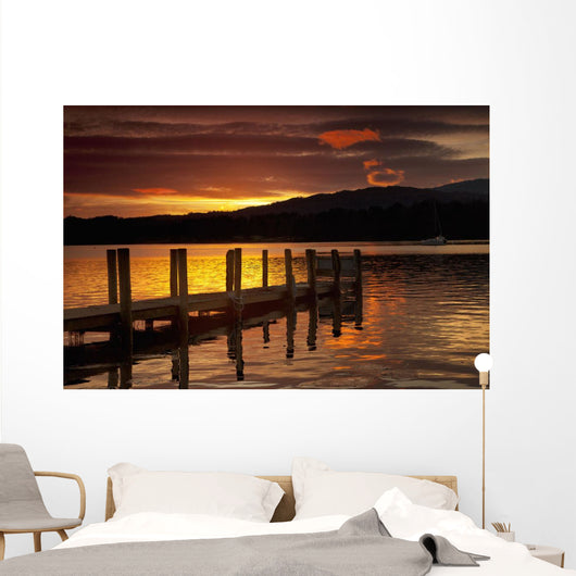 Sunset Over Dock At Lake Windermere Wall Mural