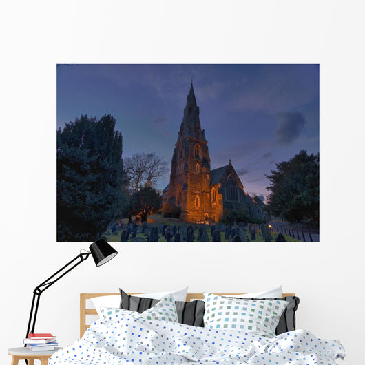 A Cemetery And Church Building Illuminated Wall Mural