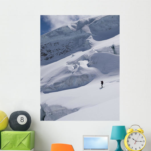 Skiing Between The Crevasses And Seracs Wall Mural