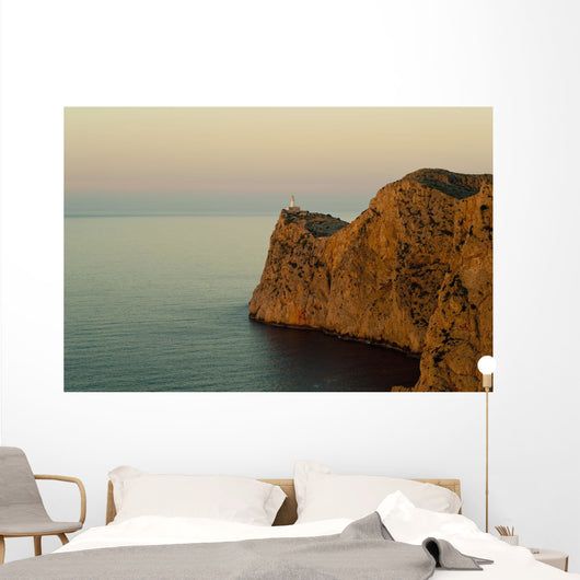 Views Of The Lighthouse At Sunset Wall Mural