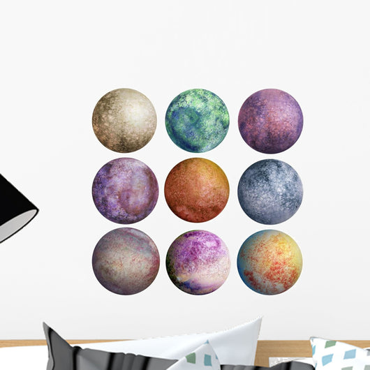 Colorful Watercolor Planets Wall Decal Sticker Set