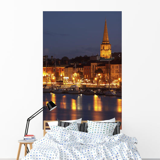 Boats Moored On River Suir At City Waterfront At Night Wall Mural