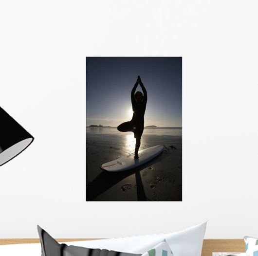 Silhouette Of Female Surfer Doing Yoga Tree Pose Wall Mural