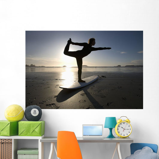 Silhouette Of Female Surfer Doing Bow Pulling Yoga Pose Wall Mural