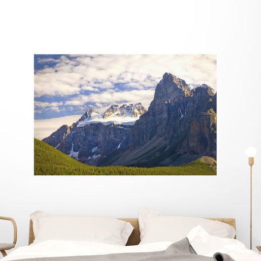 View Of Glacial Mountains And Trees In Banff National Park Wall Mural