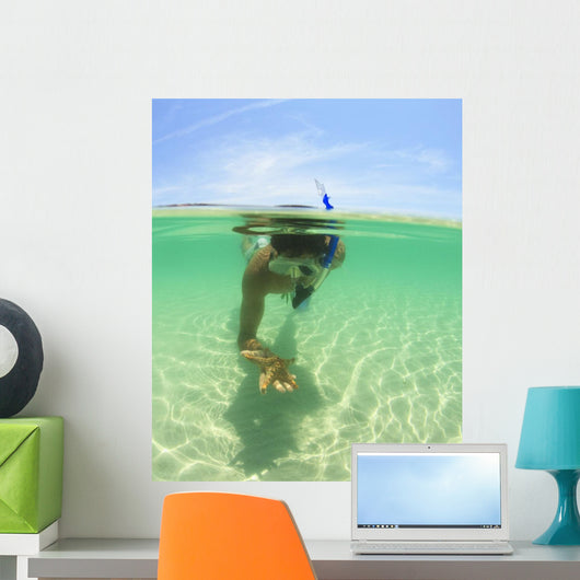 A Young Man Snorkels Holding A Starfish Underwater Wall Mural