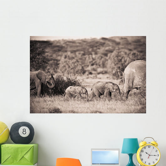 Elephants Walking In A Row Wall Mural
