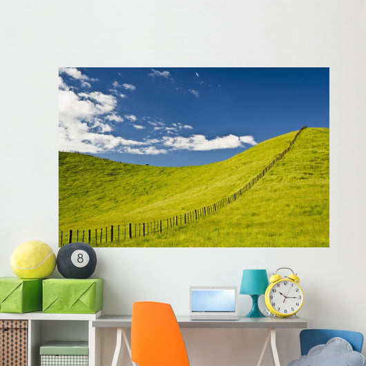 Wooden Fence Posts Running Through A Grassy Field Wall Mural