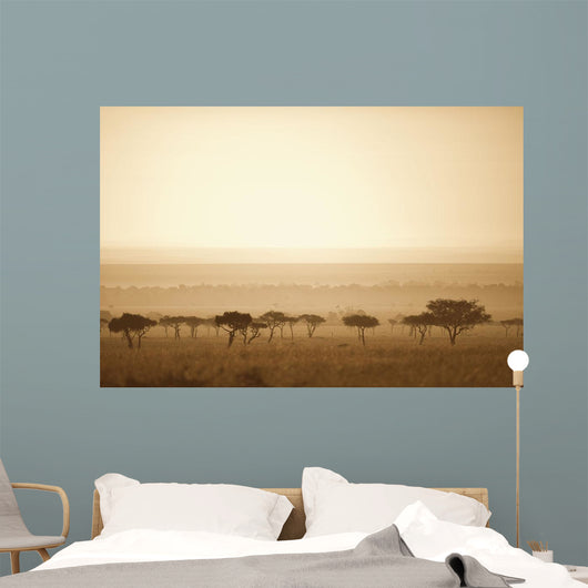 Trees On The Savannah At Sunset Wall Mural