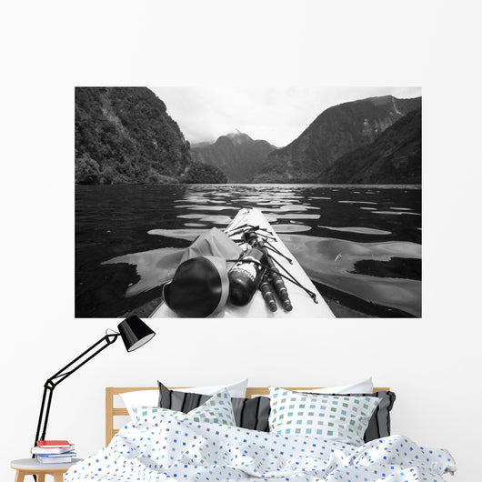 Supplies On The End Of A Kayak Going Through A Fjord Wall Mural