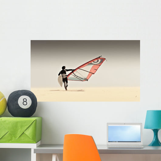 A Windsurfer Runs On The Sand Of Punta Paloma Beach With His Board Wall Mural