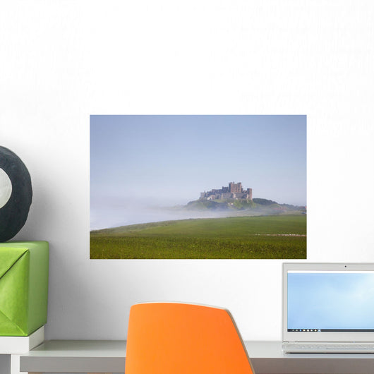 Bamburgh Castle On A Hill In The Fog Wall Mural