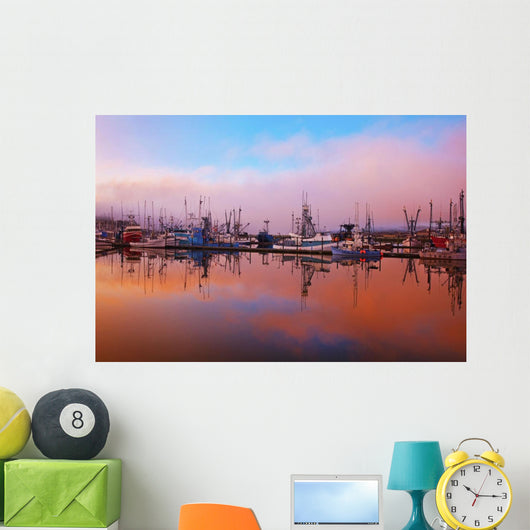 Sunrise Through The Morning Fog And Fishing Boats In Newport Harbor Wall Mural