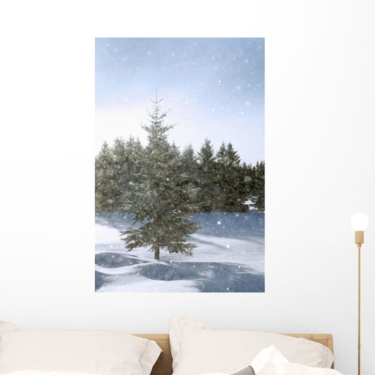 Snowy Flurries Falling In The Sunshine Wall Mural