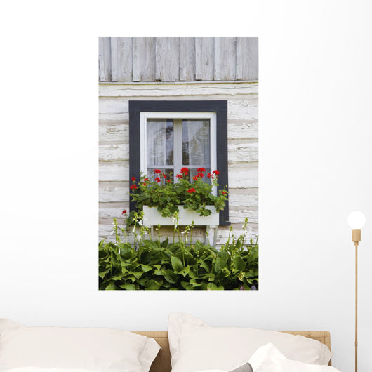 Log Home And Flower Box In The Window Wall Mural