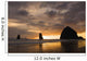 Silhouette Of Rock Formations And Haystack Rock At Sunset Wall Mural