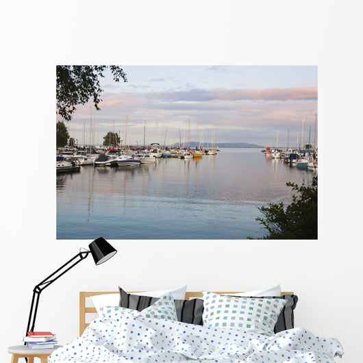 Boats In The Harbour At Sunset Wall Mural